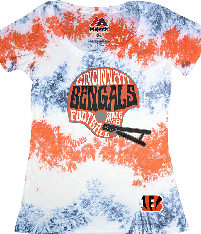 NFL Cincinnati Bengals Vintage Helmet Womens Long Length Tie-Dye T-Shirt Tee Liquid Blue