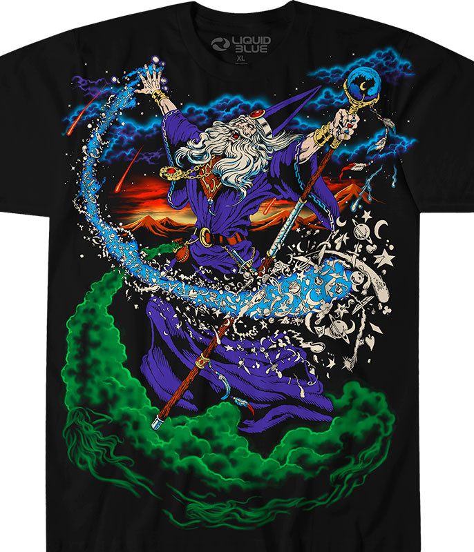 Dark Fantasy Wizard Black T-Shirt Tee Liquid Blue