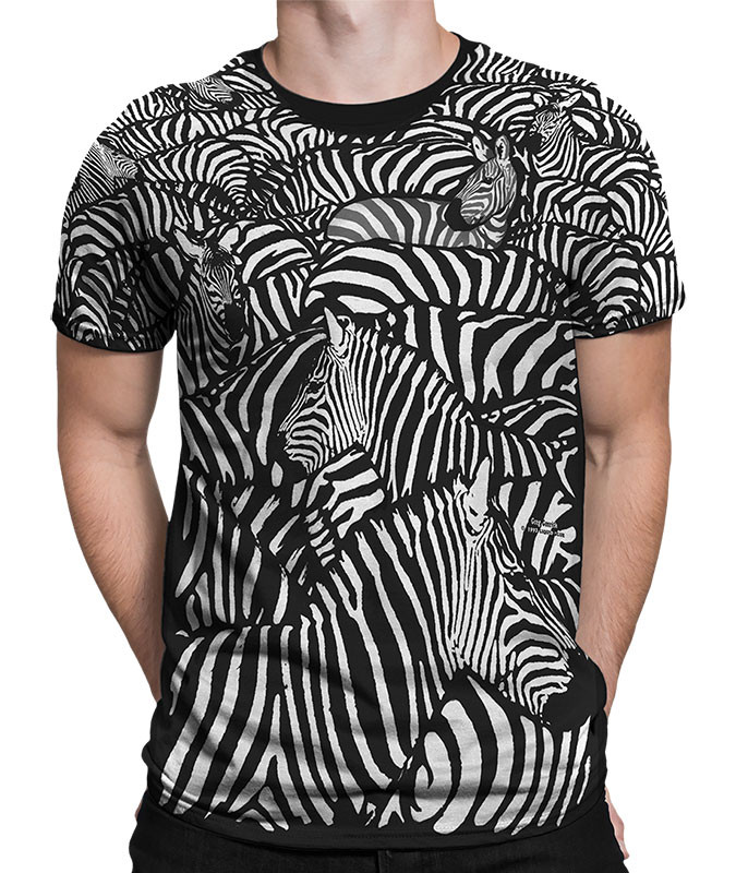 Exotic Wildlife White Zebra Black T-Shirt Tee Liquid Blue