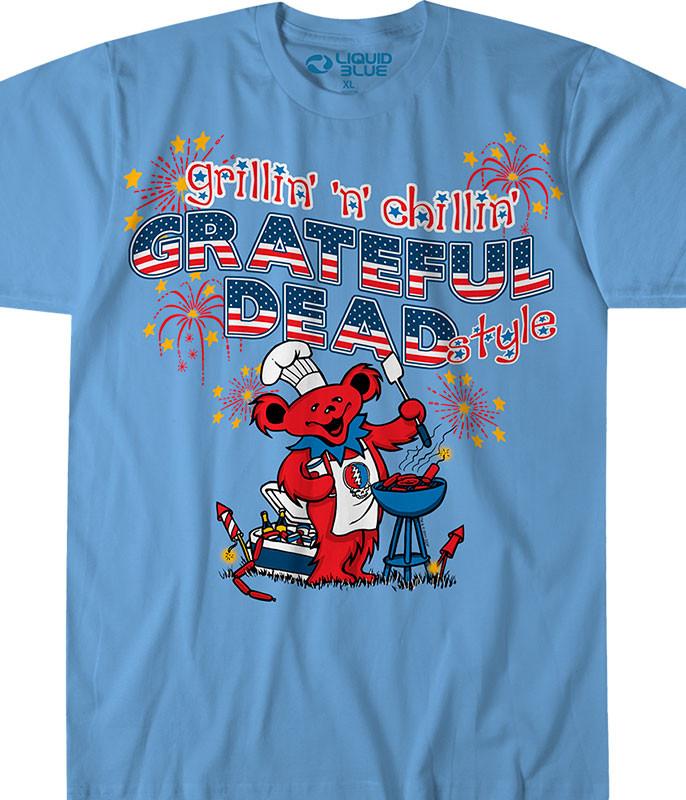 Grateful Dead Grillin n Chillin Light Blue T-Shirt Tee Liquid Blue