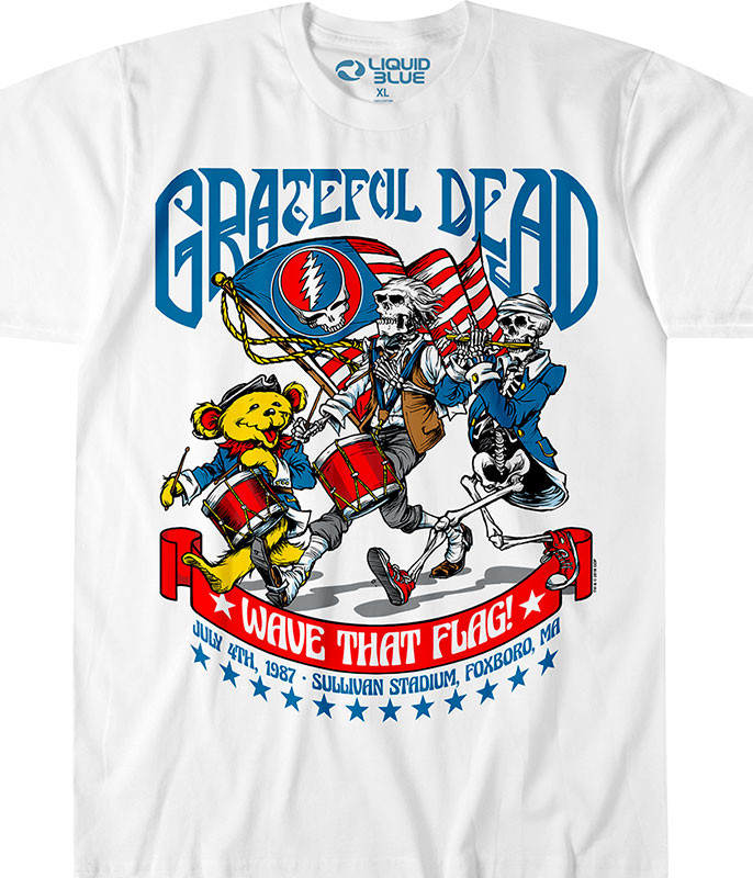 Grateful Dead 4th of July White T-Shirt Tee Liquid Blue