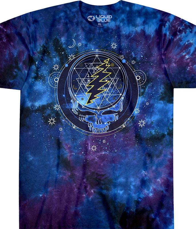 87bd4977a Grateful Dead Mystical Stealie Tie-Dye T-Shirt Tee Liquid Blue