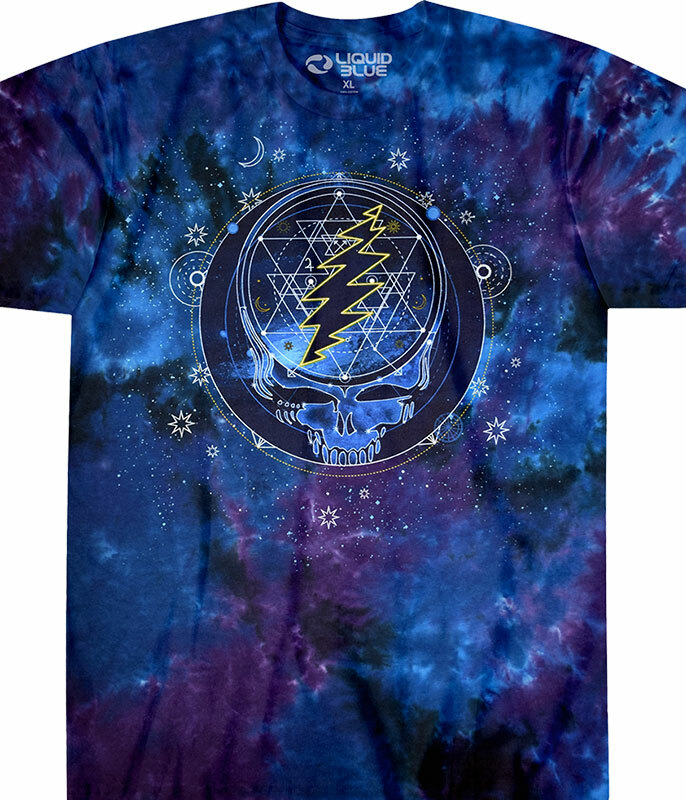 Grateful Dead Mystical Stealie Tie-Dye T-Shirt Tee Liquid Blue