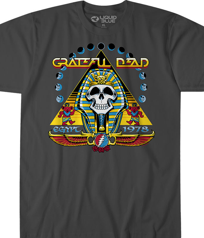 Grateful Dead Egypt 78 Grey T-Shirt Tee Liquid Blue