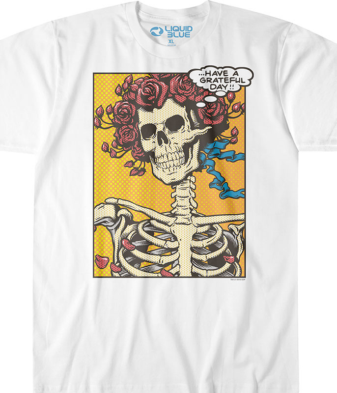 Grateful Dead Pop Art Bertha White T-Shirt Tee Liquid Blue