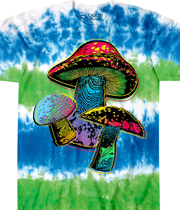 Grateful Dead Psychedelic Shrooms Tie-Dye T-Shirt Tee Liquid Blue
