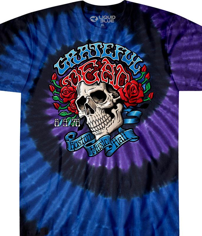 Grateful Dead Boston Music Hall Tie-Dye T-Shirt Tee Liquid Blue