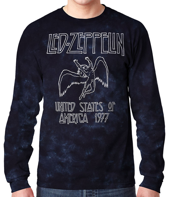 Led Zeppelin USA Tour 77 Tie-Dye Long Sleeve T-Shirt Tee Liquid Blue