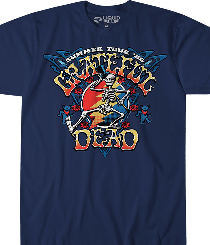 Grateful Dead Strutting Skelly Navy T-Shirt Tee Liquid Blue