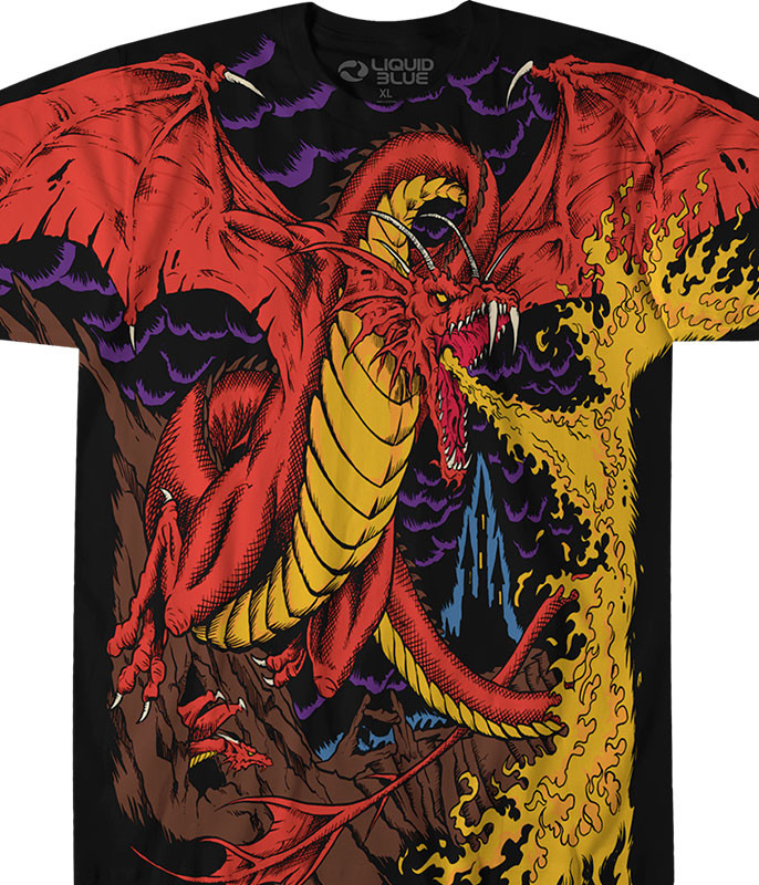 Dark Fantasy Dragon Black T-Shirt Tee Liquid Blue
