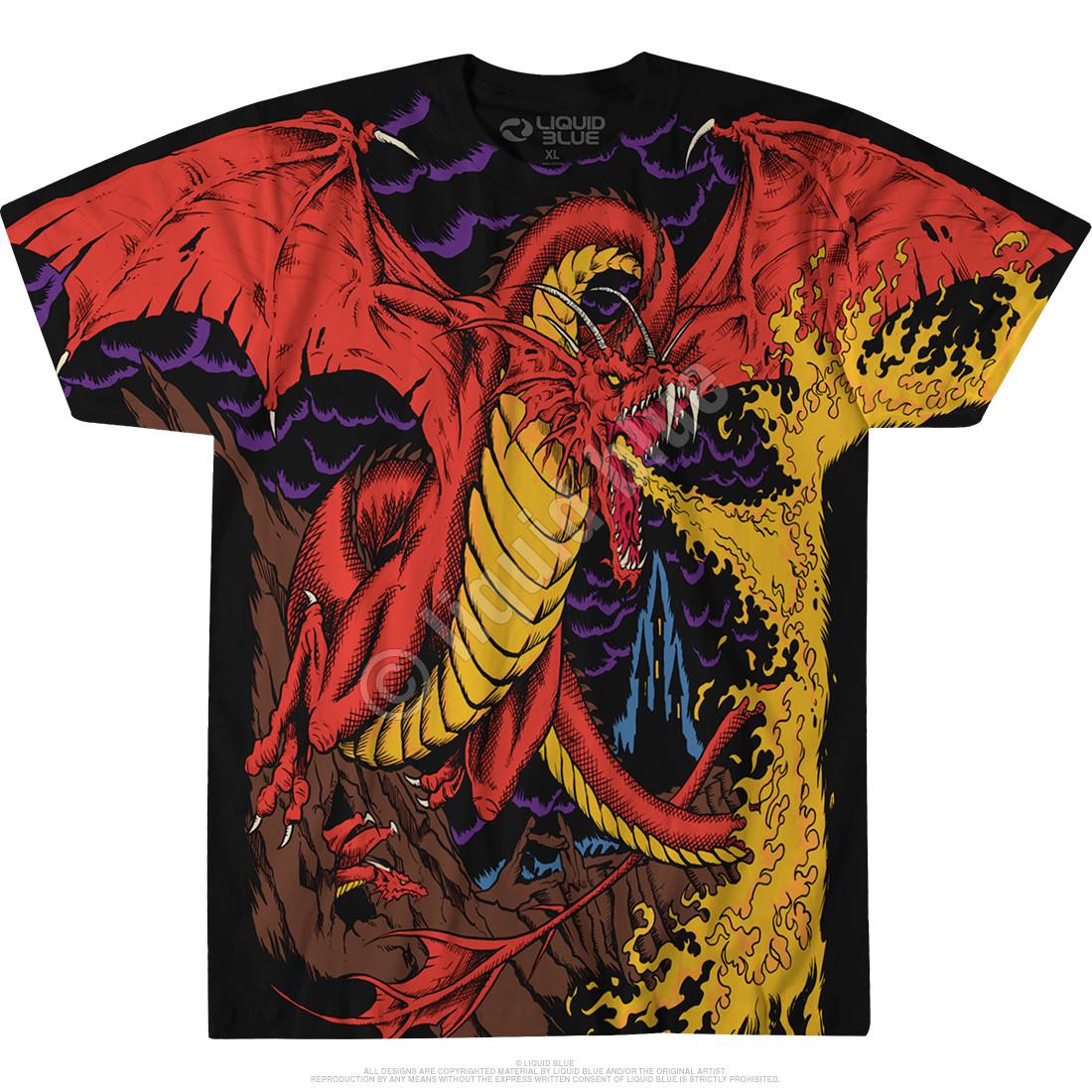 8624e00f8a4d3 Dark Fantasy Dragon Black T-Shirt Tee Liquid Blue