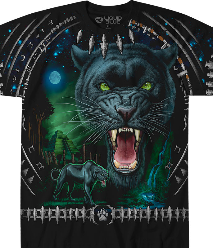 Exotic Wildlife Tribal Panther Black T-Shirt Tee Liquid Blue