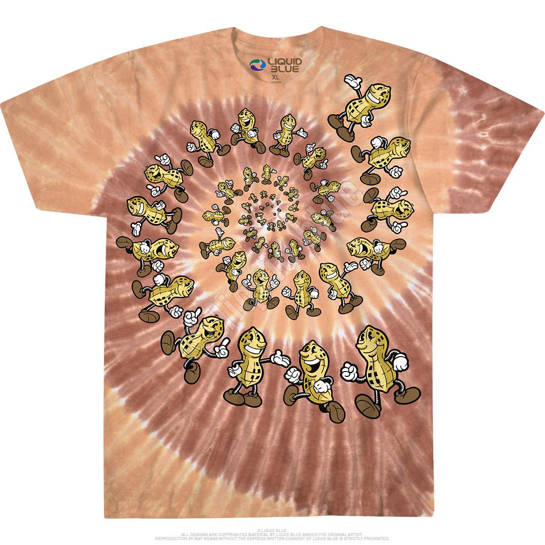 dc892b34b Food Peanut Spiral Tie-Dye T-Shirt Tee Liquid Blue