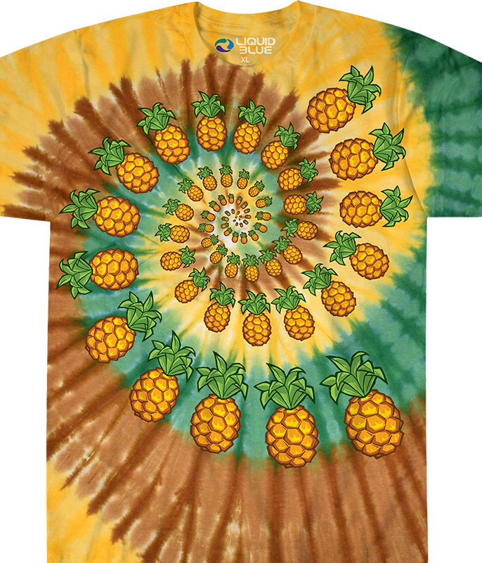 Food Pineapple Spiral Tie-Dye T-Shirt Tee Liquid Blue