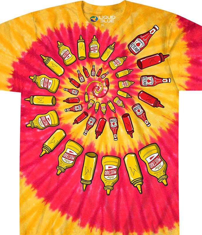 Food Mustard & Ketchup Spiral Tie-Dye T-Shirt Tee Liquid Blue