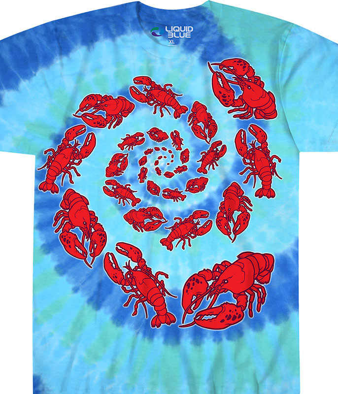 Food Lobster Spiral Tie-Dye T-Shirt Tee Liquid Blue