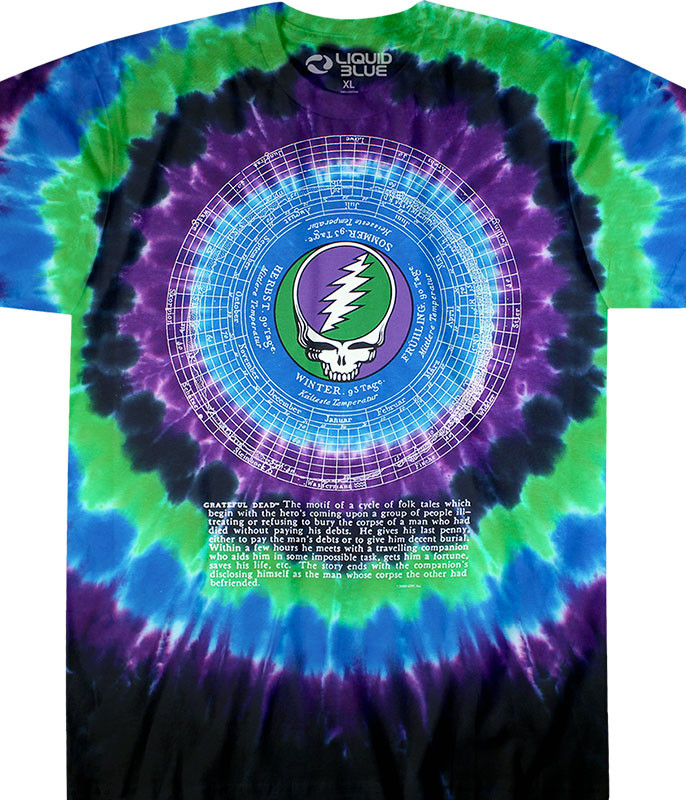 Grateful Dead Calendar Tie-Dye T-Shirt Tee Liquid Blue
