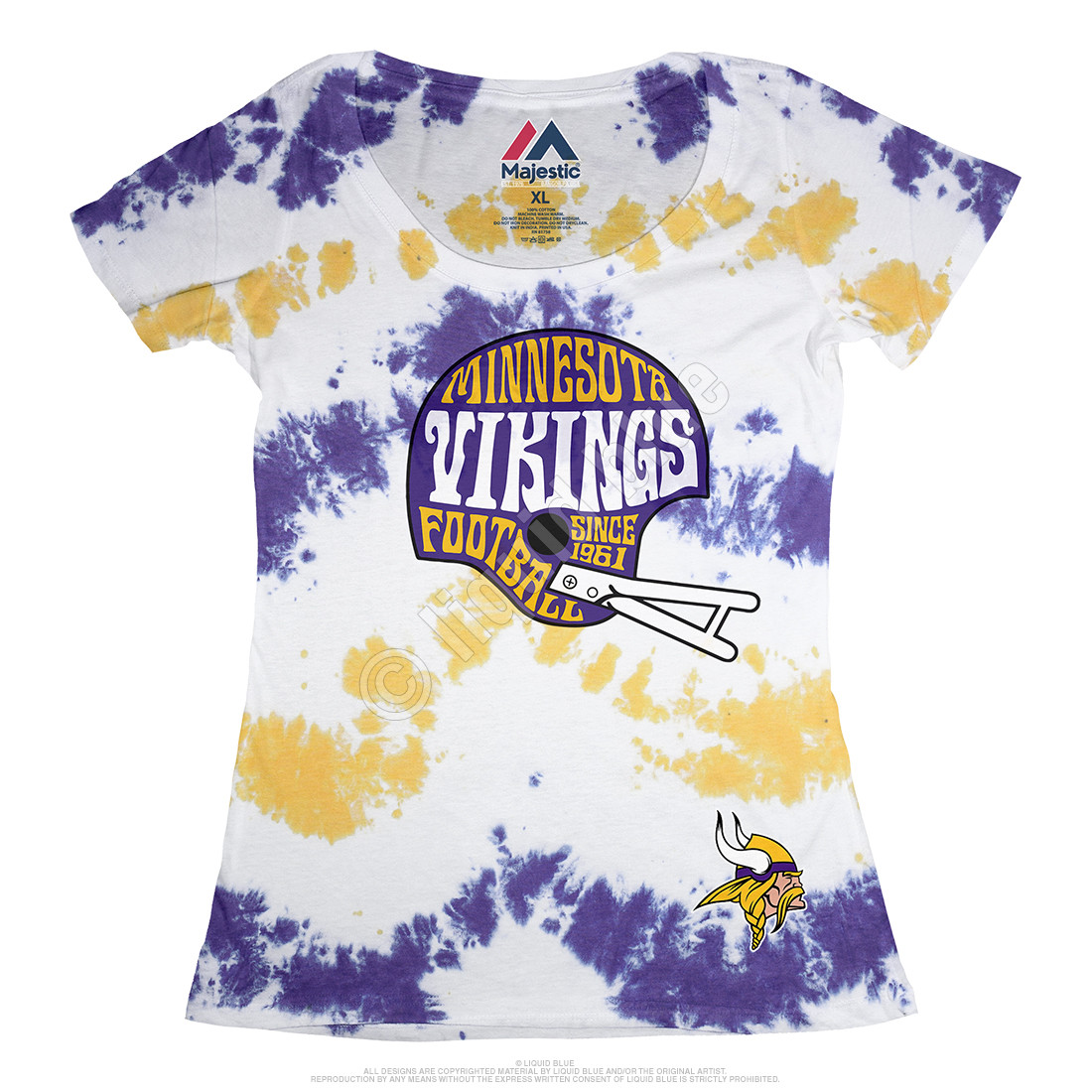 Minnesota Vikings Vintage Helmet Womens Long Length Tie-Dye T-Shirt