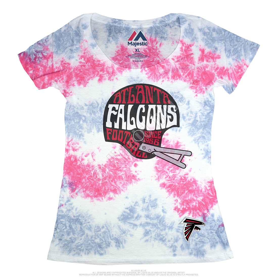 Atlanta Falcons Vintage Helmet Womens Long Length Tie-Dye T-Shirt