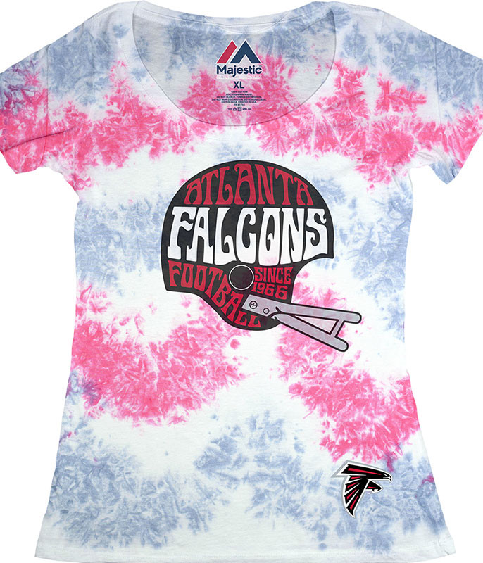 NFL Atlanta Falcons Vintage Helmet Womens Long Length Tie-Dye T-Shirt Tee Liquid Blue
