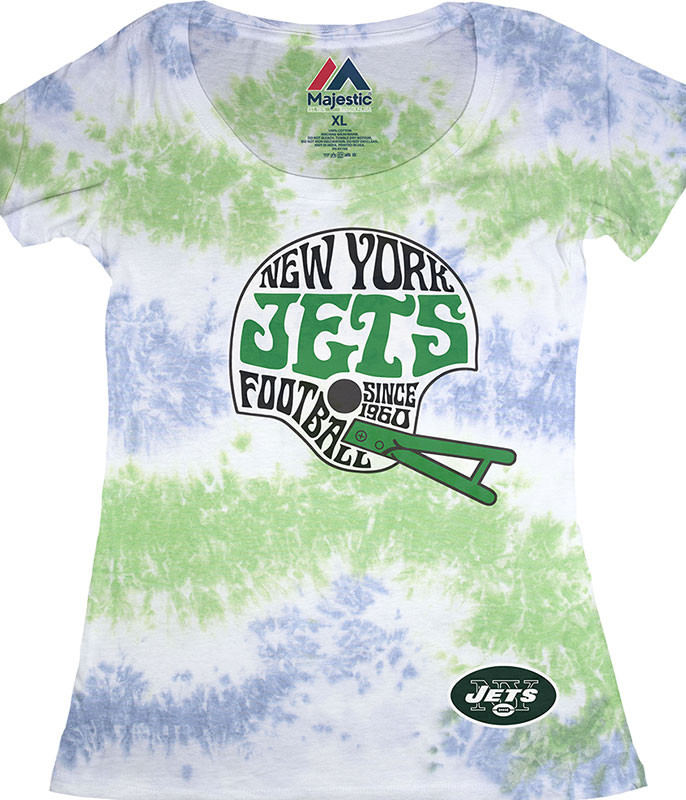 NEW YORK JETS Vintage HELMET WOMENS LONG LENGTH TIE-DYE T-SHIRT