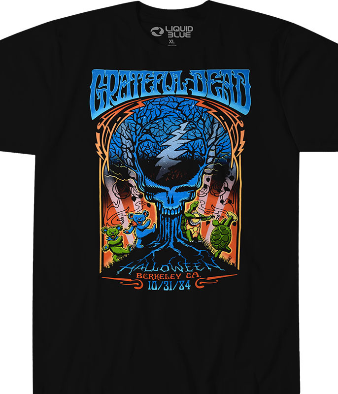 c43203504 Grateful Dead Halloween Dead Black Athletic T-Shirt Tee Liquid Blue