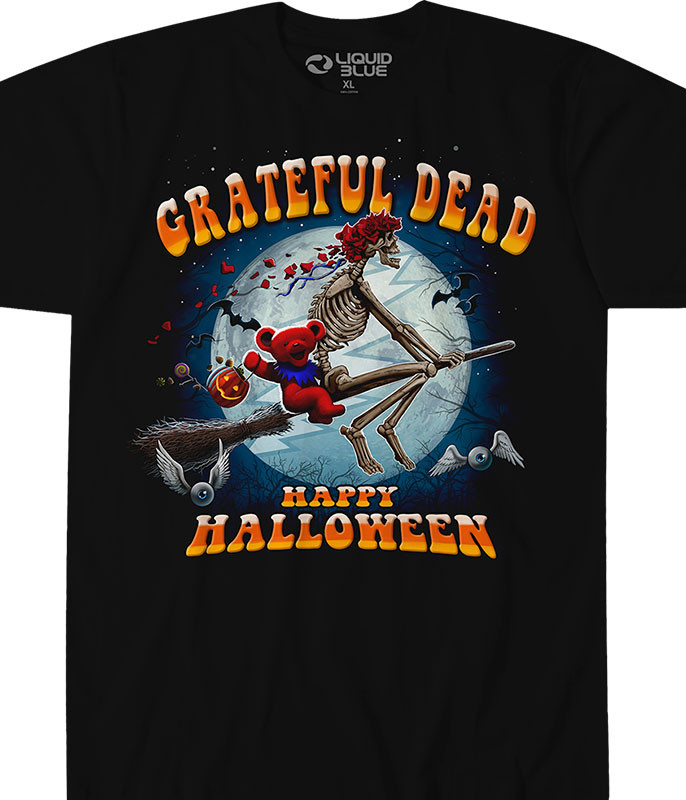 Grateful Dead Wicked Bertha Black Athletic T-Shirt Tee Liquid Blue