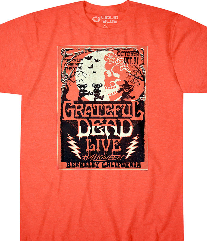 Grateful Dead Berkeley Moon Orange Poly Cotton T-Shirt Tee Liquid Blue