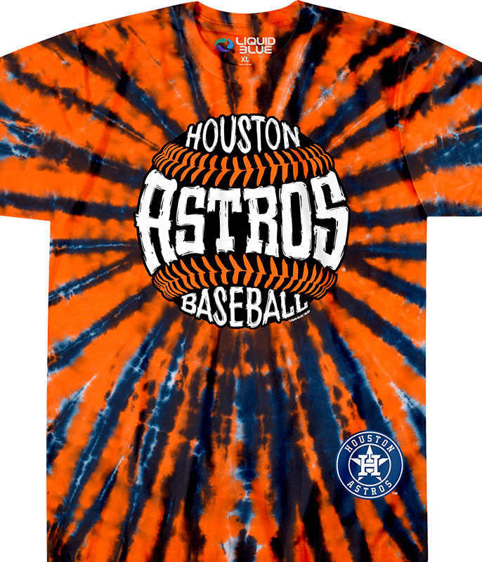 MLB Houston Astros Burst Tie-Dye T-Shirt Tee Liquid Blue