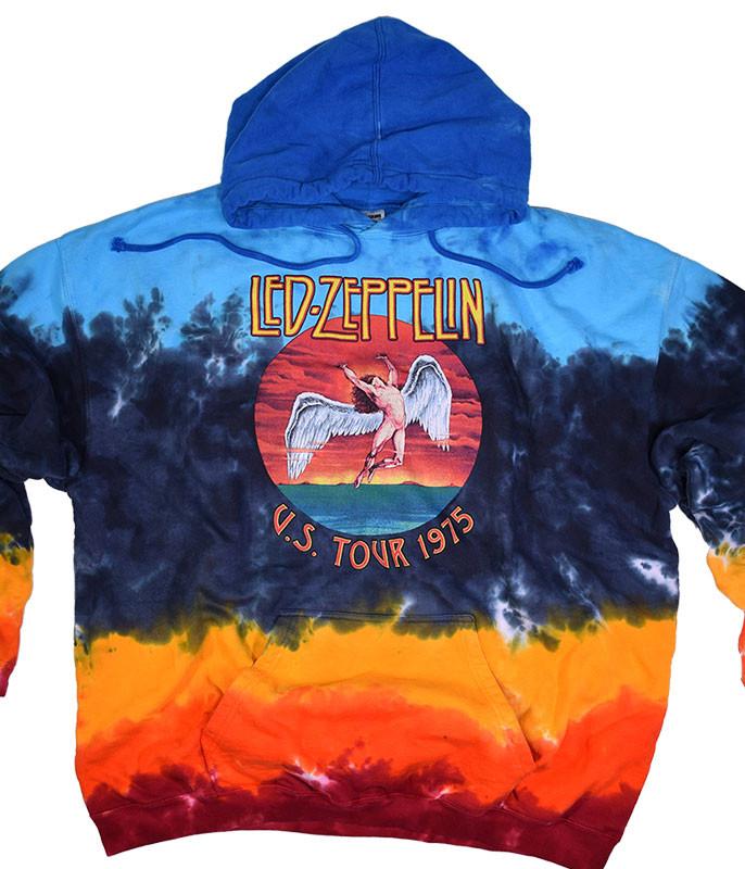 Led Zeppelin Icarus 1975 Tie-Dye Hoodie Liquid Blue