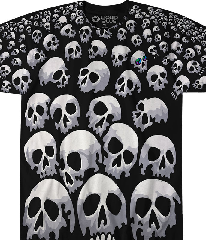 Son Of Skulls Black T-Shirt Tee Liquid Blue