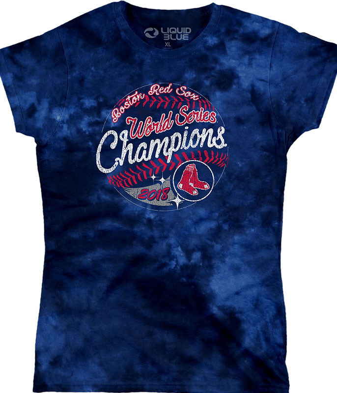 Boston Red Sox 2018 World Series Champions Women's Long Length Tie-Dye T-Shirt