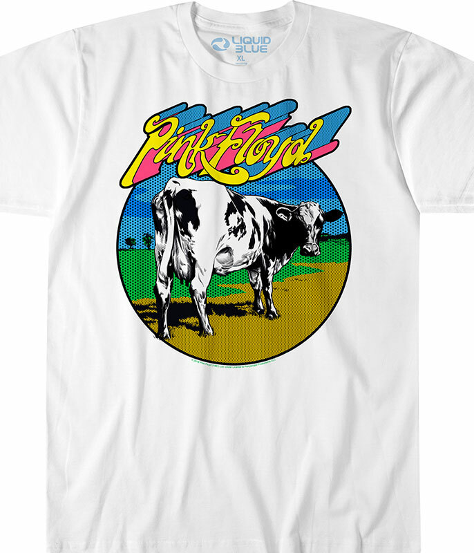 Pink Floyd Distant Bells White Athletic T-Shirt Tee Liquid Blue