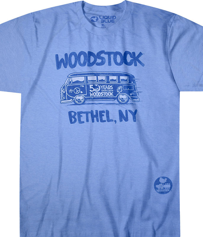 Woodstock Bethel Bus Blue Poly-Cotton T-Shirt Tee Liquid Blue