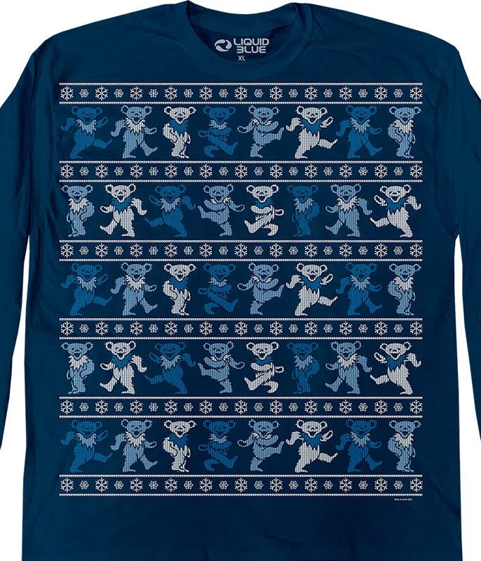 Dancin Bear Xmas Sweater Navy Long Sleeve T-Shirt