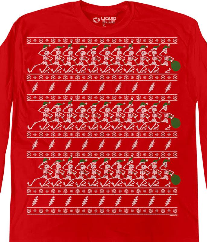 Dancin Skeletons Xmas Sweater Red Long Sleeve T-Shirt