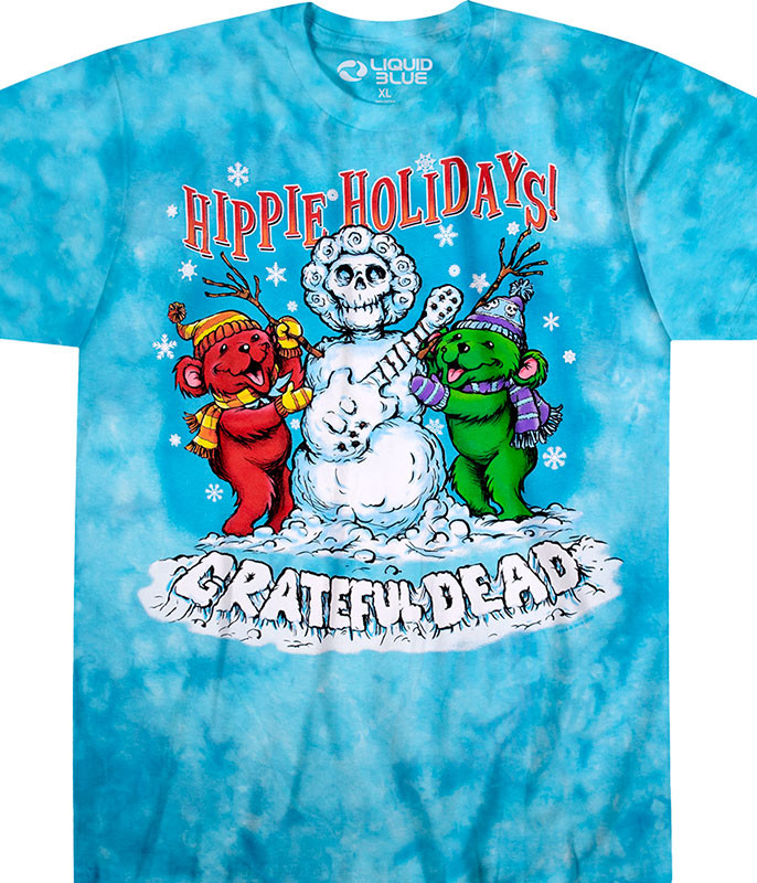 Grateful Dead Hippie Holidays Tie-Dye T-Shirt Tee Tee Liquid Blue
