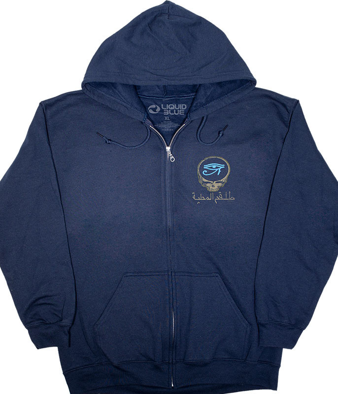 Grateful Dead Egyptian Crew Navy Zipper Hoodie Liquid Blue