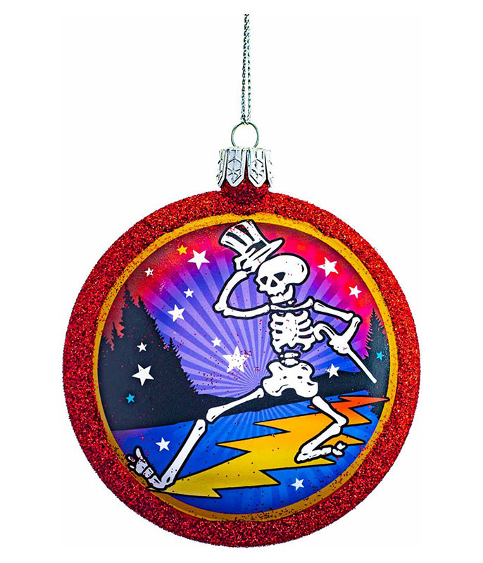 GD Dancing Skeleton Glass Ornament