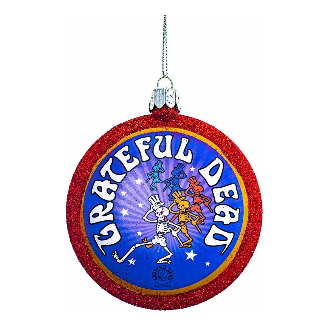 GD Dancing Skeleton Glass Ornament