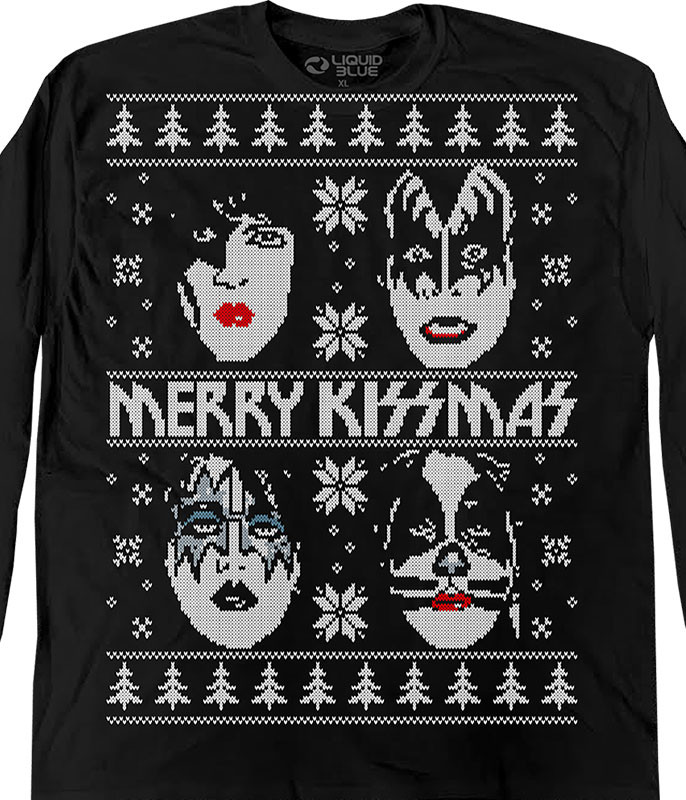 Merry KISSmas Sweater Black Long Sleeve T-Shirt