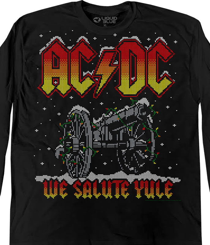 AC-DC We Salute Yule Xmas Sweater Black Long Sleeve T-Shirt Tee Liquid Blue