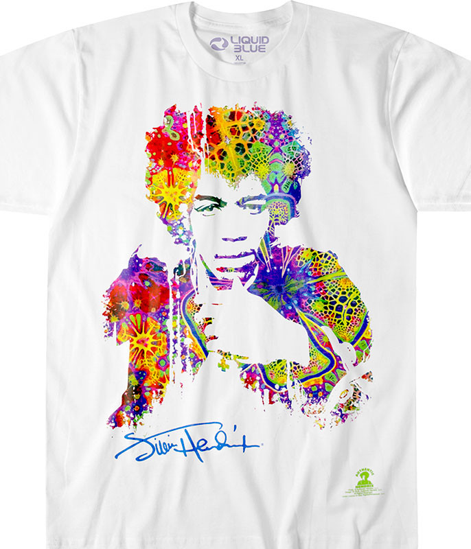 Jimi Hendrix Riding with the Wind Athletic White T-Shirt Tee Liquid Blue