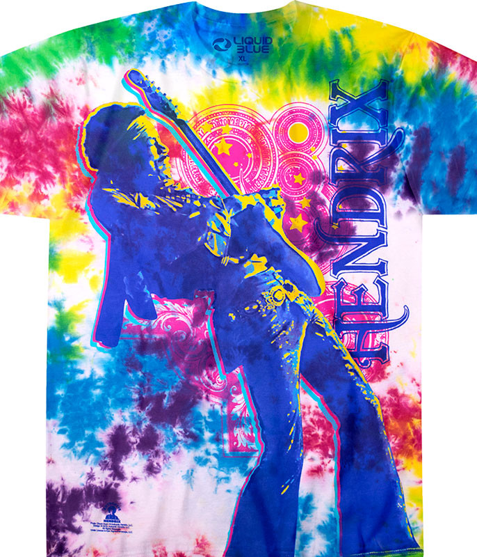 Jimi Hendrix Electric Lady Tie-Dye T-Shirt Tee Liquid Blue