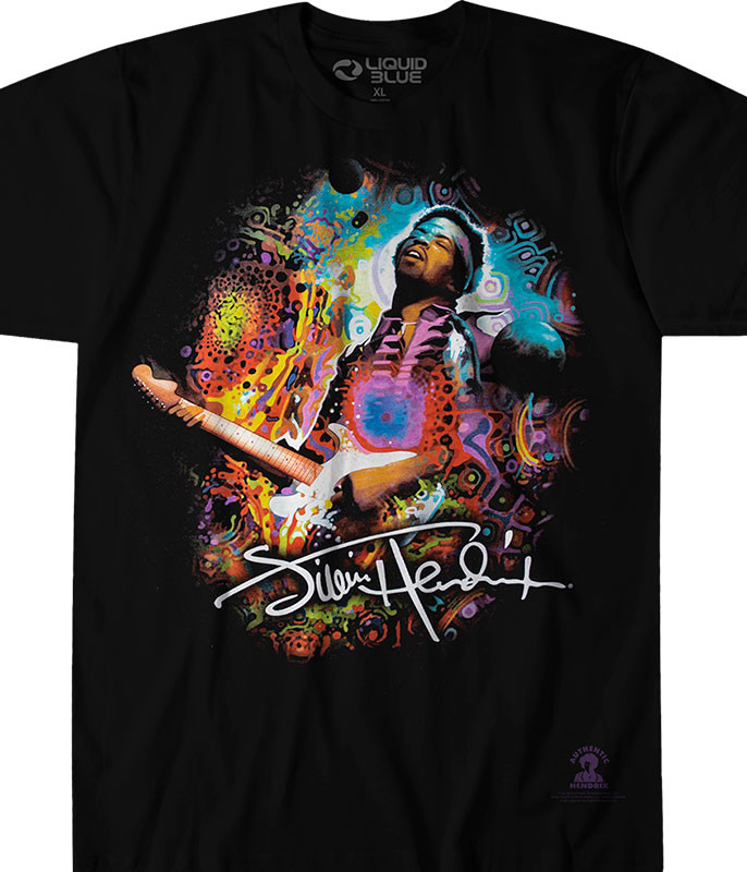 Jimi Hendrix Hendrix Angel Black T-Shirt Tee Liquid Blue