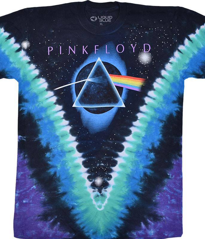 Pink Floyd Eclipsed by The Moon Tie-Dye T-Shirt Tee Liquid Blue