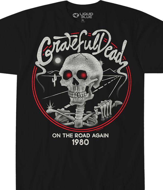 Grateful Dead On The Road Again Black T-Shirt Tee Liquid Blue