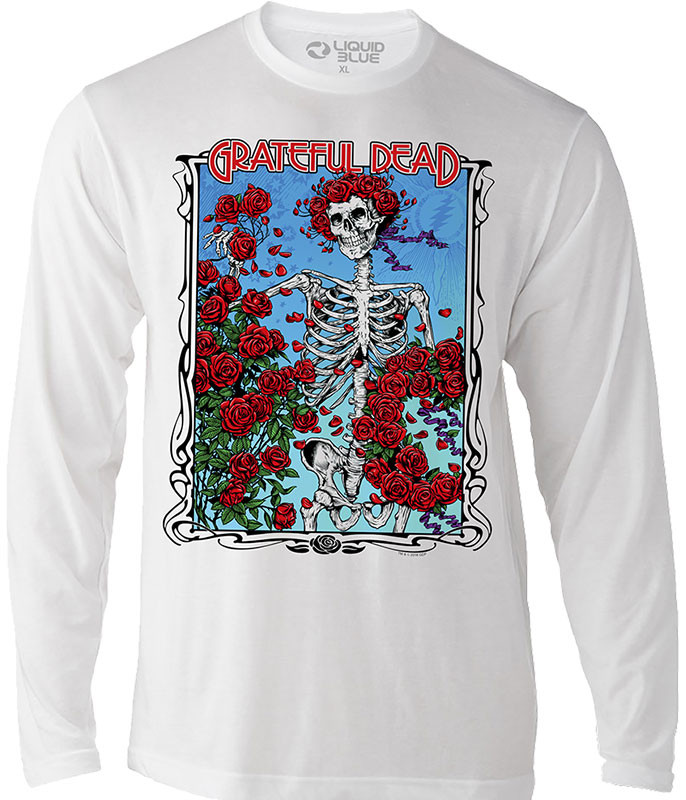 Grateful Dead Bertha Wheel & Roses Long Sleeve Athletic White T-Shirt Tee Liquid Blue