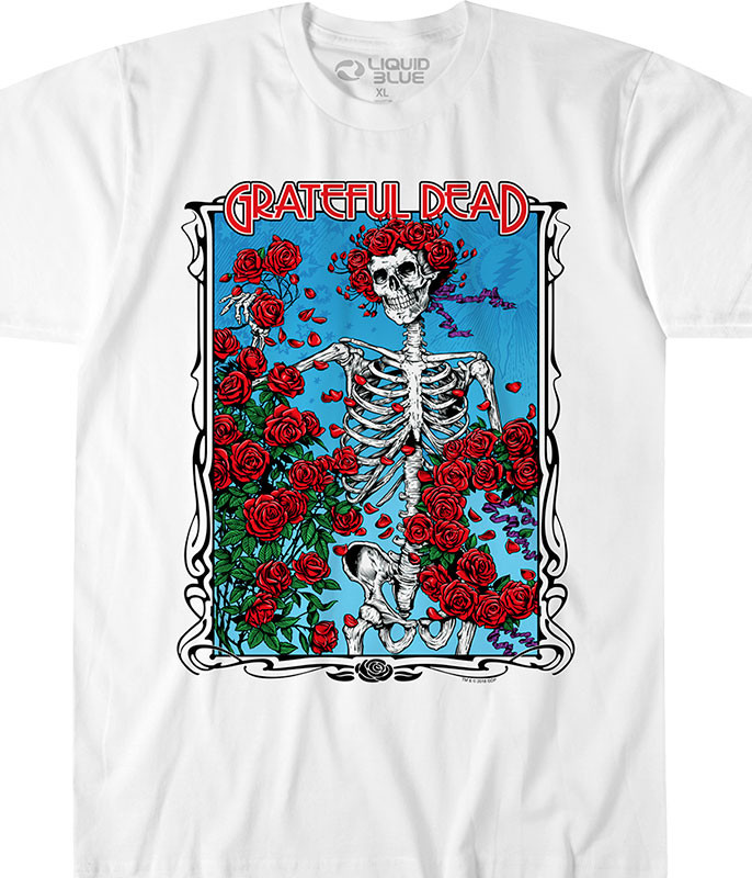 Grateful Dead Bertha Wheel & Roses White Athletic T-Shirt Tee Liquid Blue