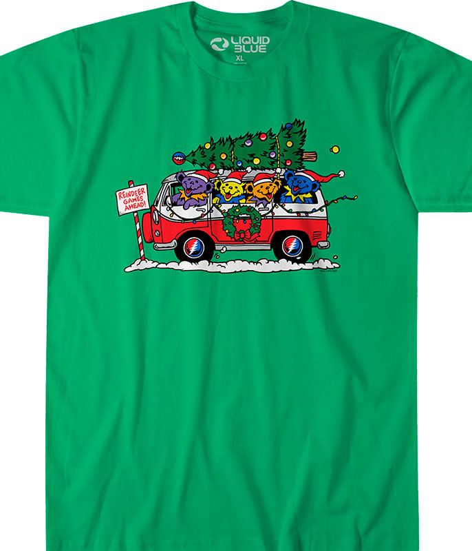 Grateful Dead Steal Your Christmas Tree Green Athletic T-Shirt Tee Liquid Blue